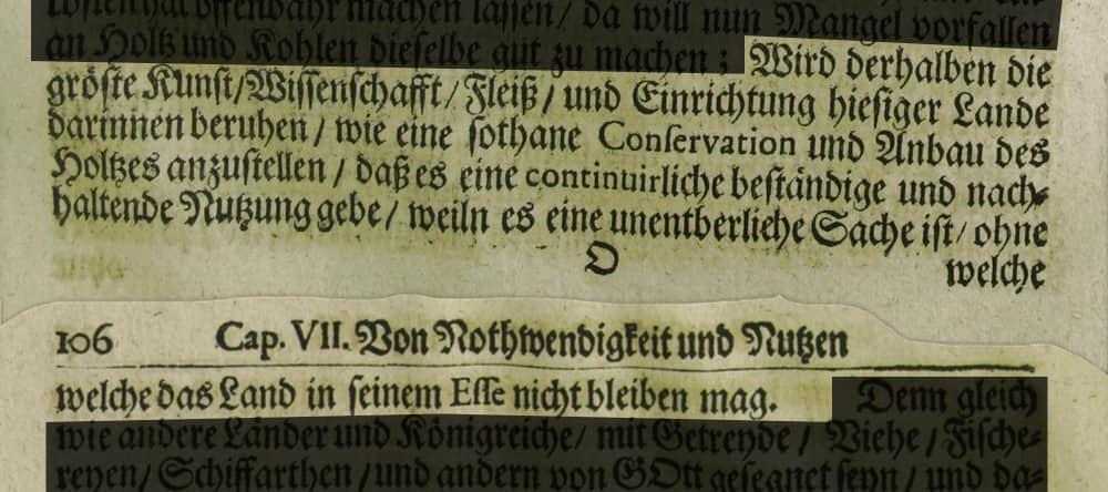 Hans Carl von Carlowitz - Sylvicultura oeconomica - Originaltext Bild